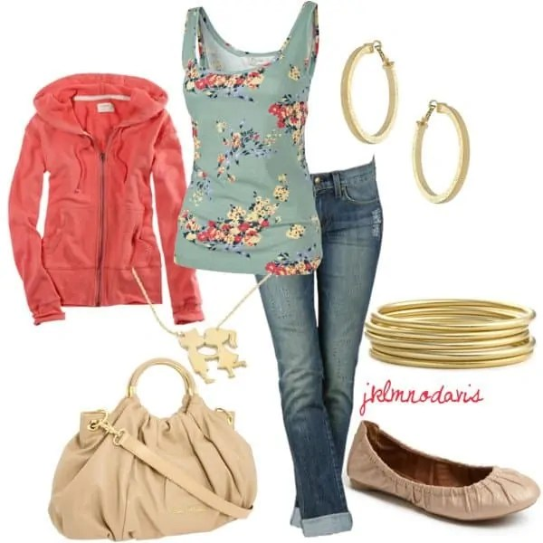 A fashion look from April 2012 featuring red jumper, faded jeans and sparkly pumps. Browse and shop related looks.