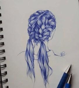 hair drawing biro