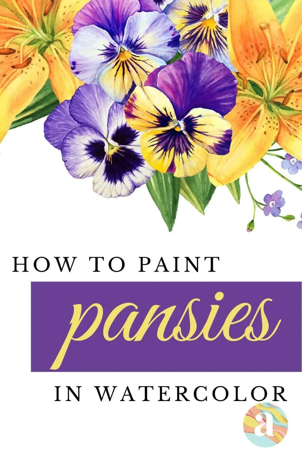 How to paint pansies in watercolor