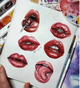 lips watercolor