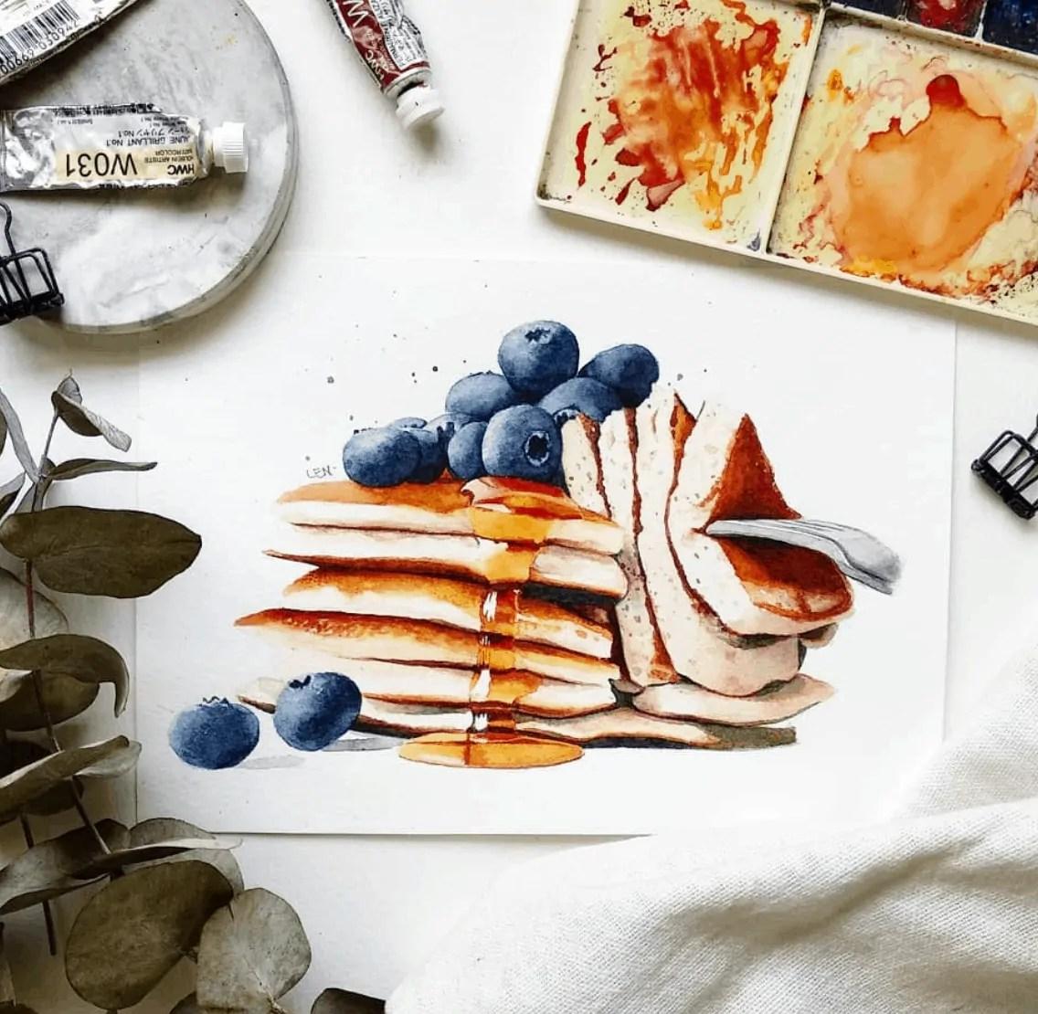 watercolor pancakes