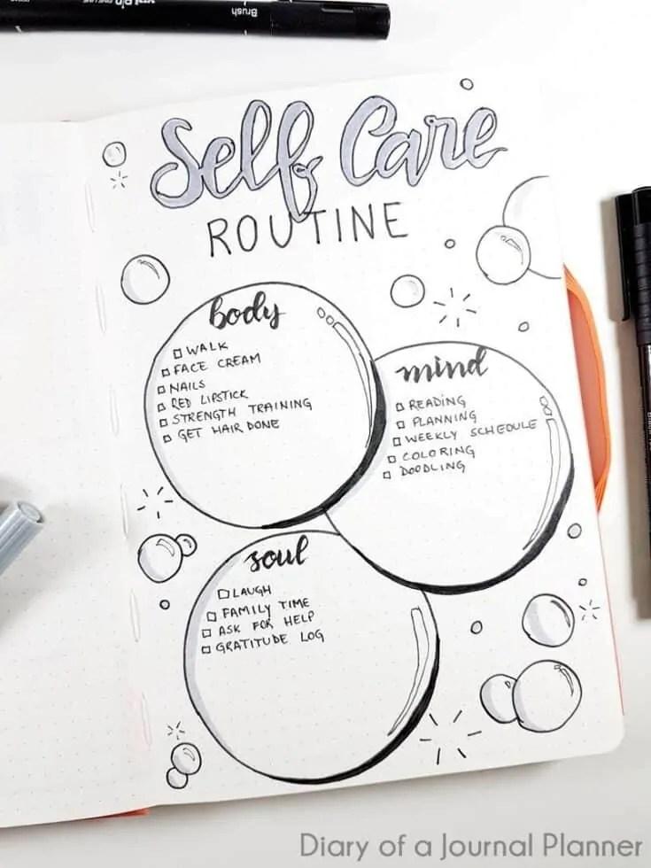 self-care bullet journal