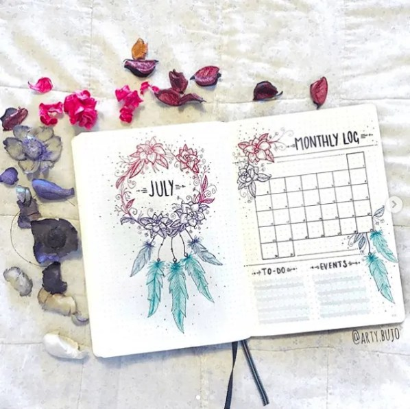 Bullet Journal Monthly Spread