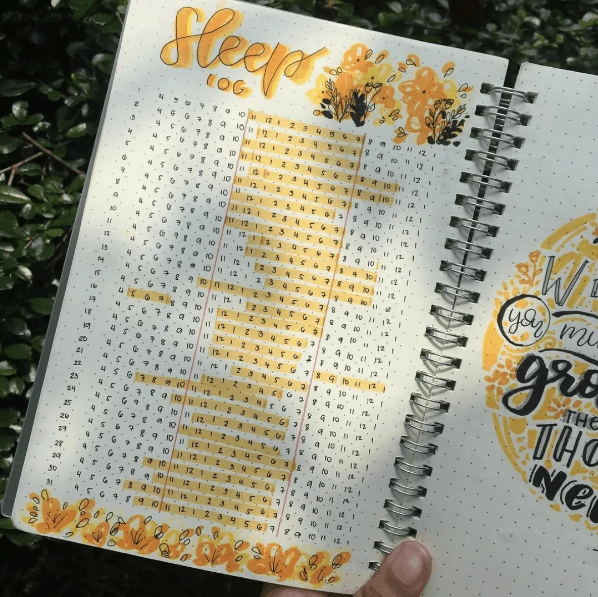 Bullet Journal sleep log