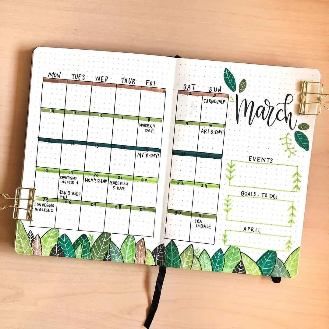 30 Creative Bullet Journal Monthly Spread Ideas 20