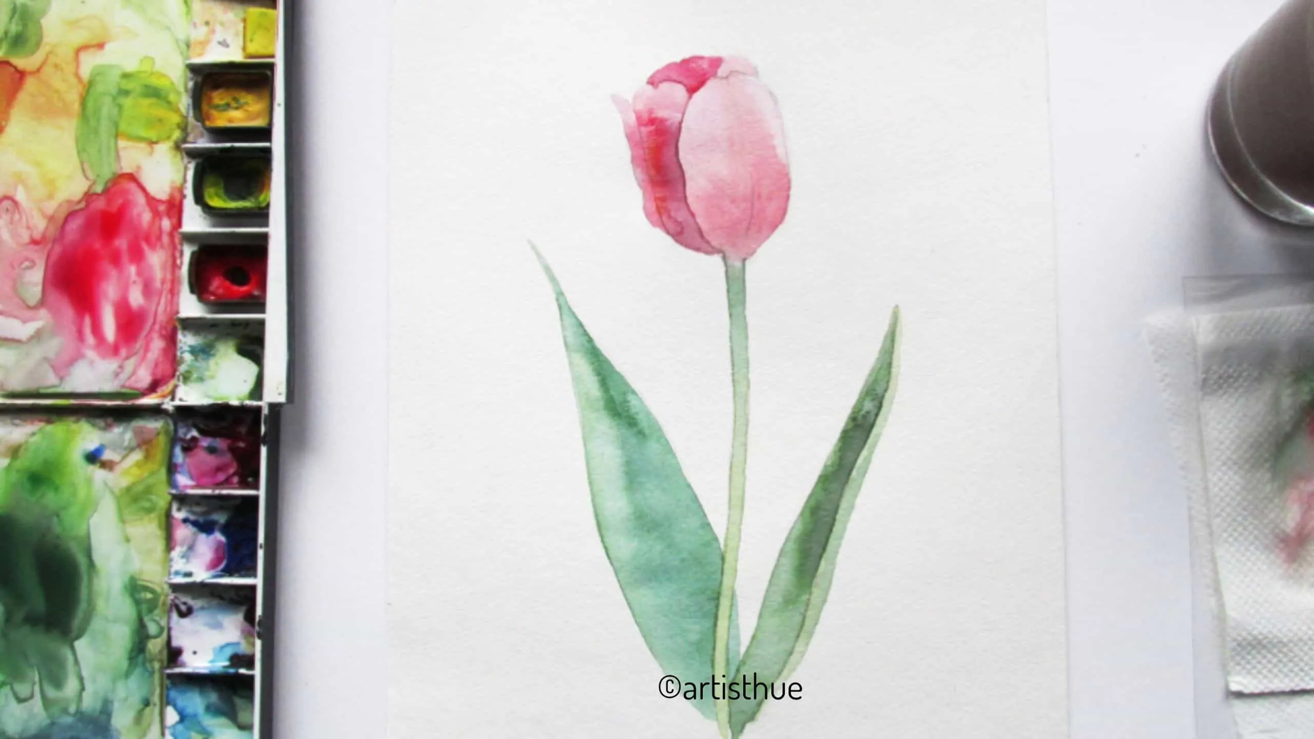 How to paint tulips in watercolor? 15