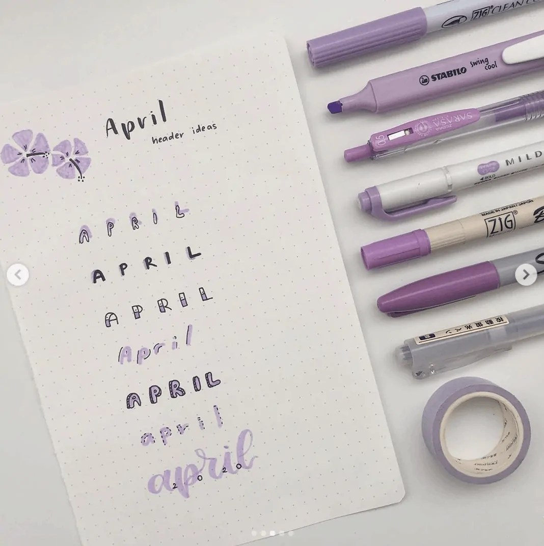 April bujo titles