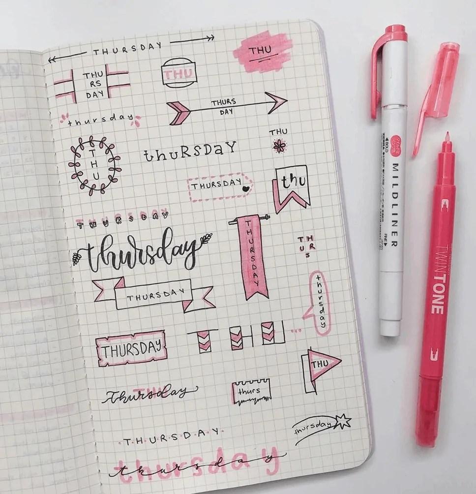 header ideas for bullet journal