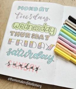 days of the week header ideas