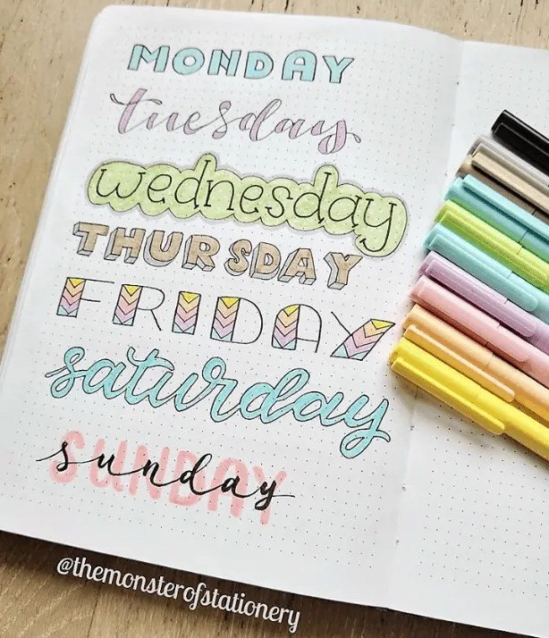 days of the week header ideas