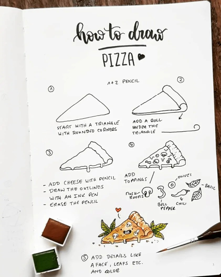 how to draw pizza