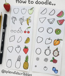 how to doodle fruits