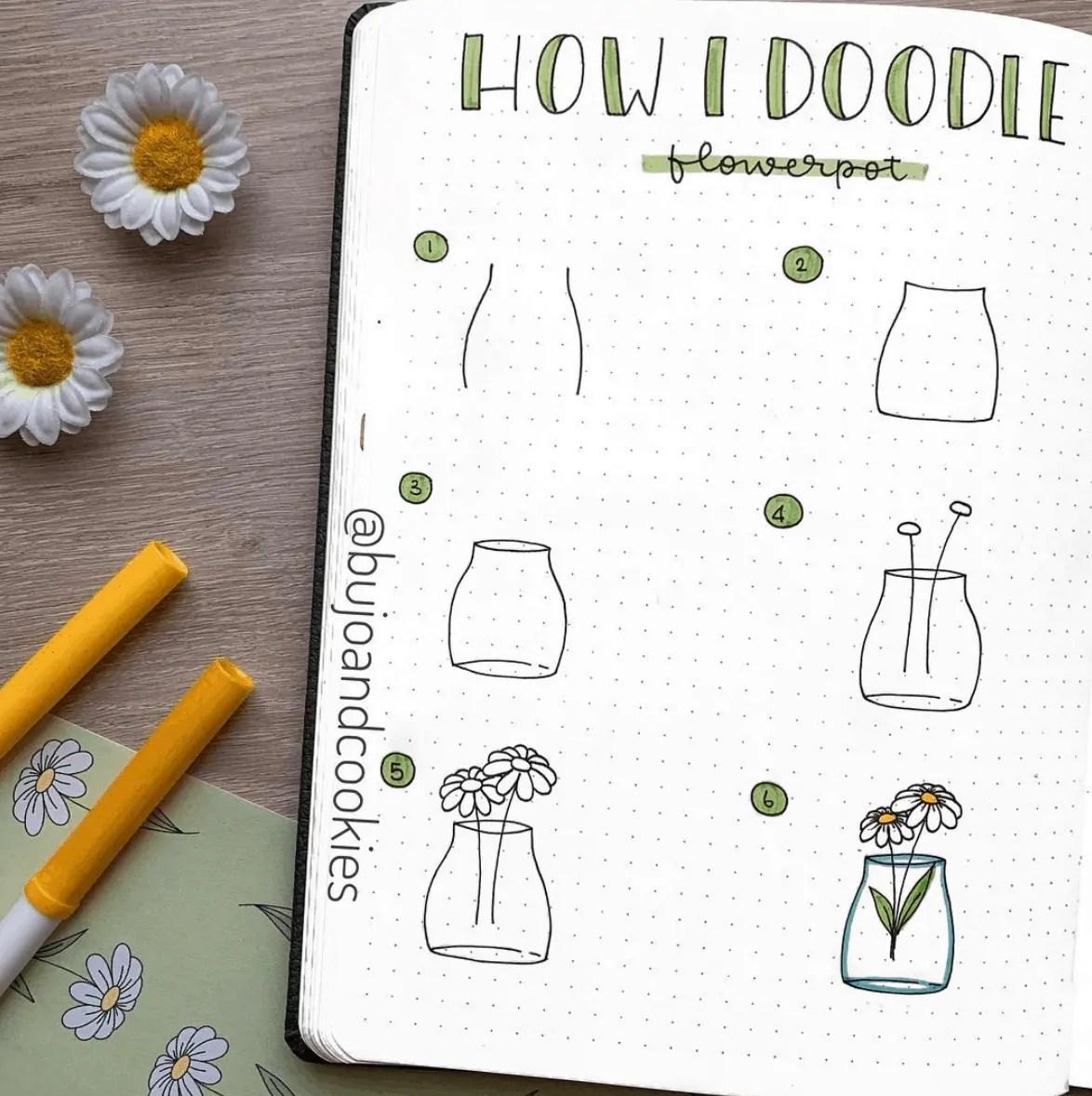 how I doodle flowerpots