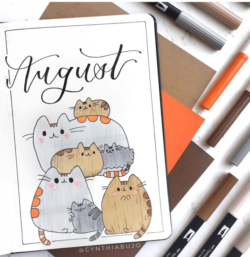 August Bullet Journal Animals