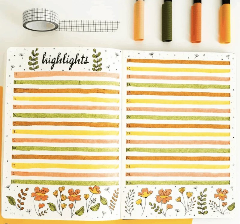 Bullet Journal Spread Ideas for Every Month of the Year 41