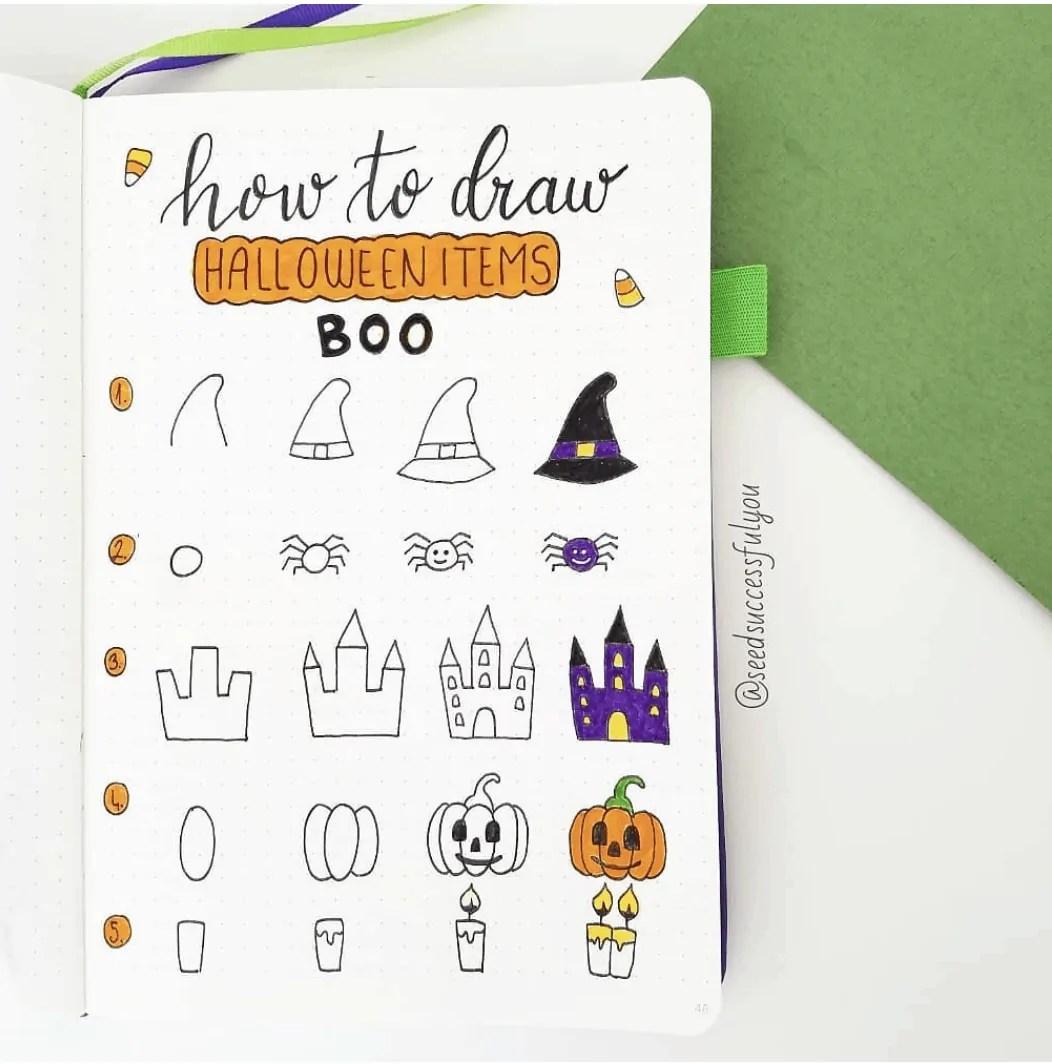 100 Bullet Journal Fall Doodles Halloween Ideas 3