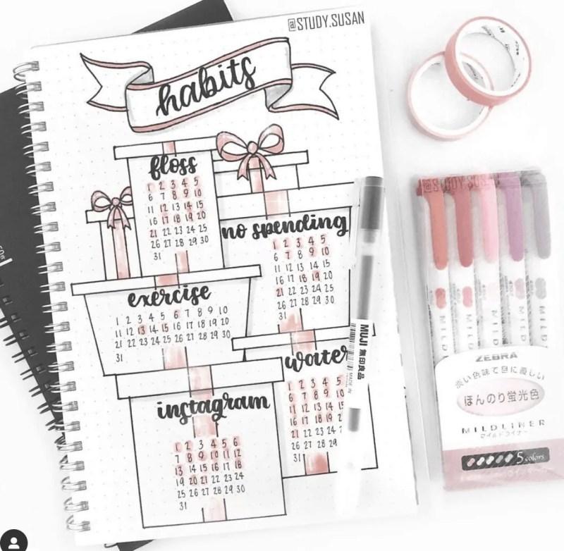 December Bullet Journal Habits: