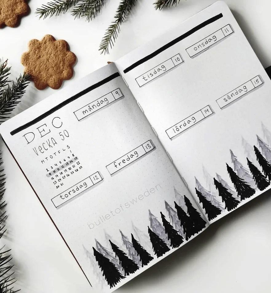 December Bullet Journal Weekly: