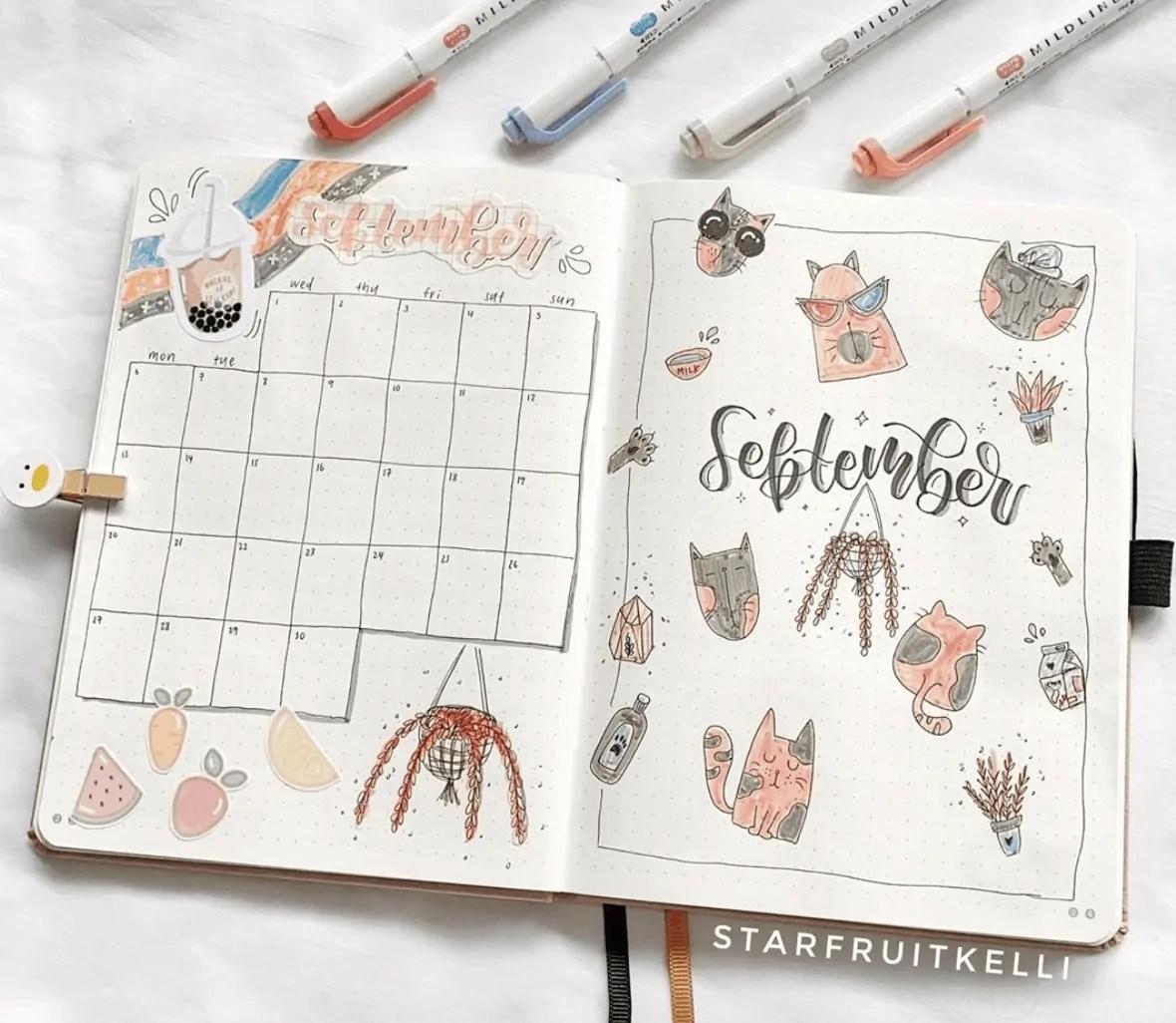 September Bullet Journal Calendar