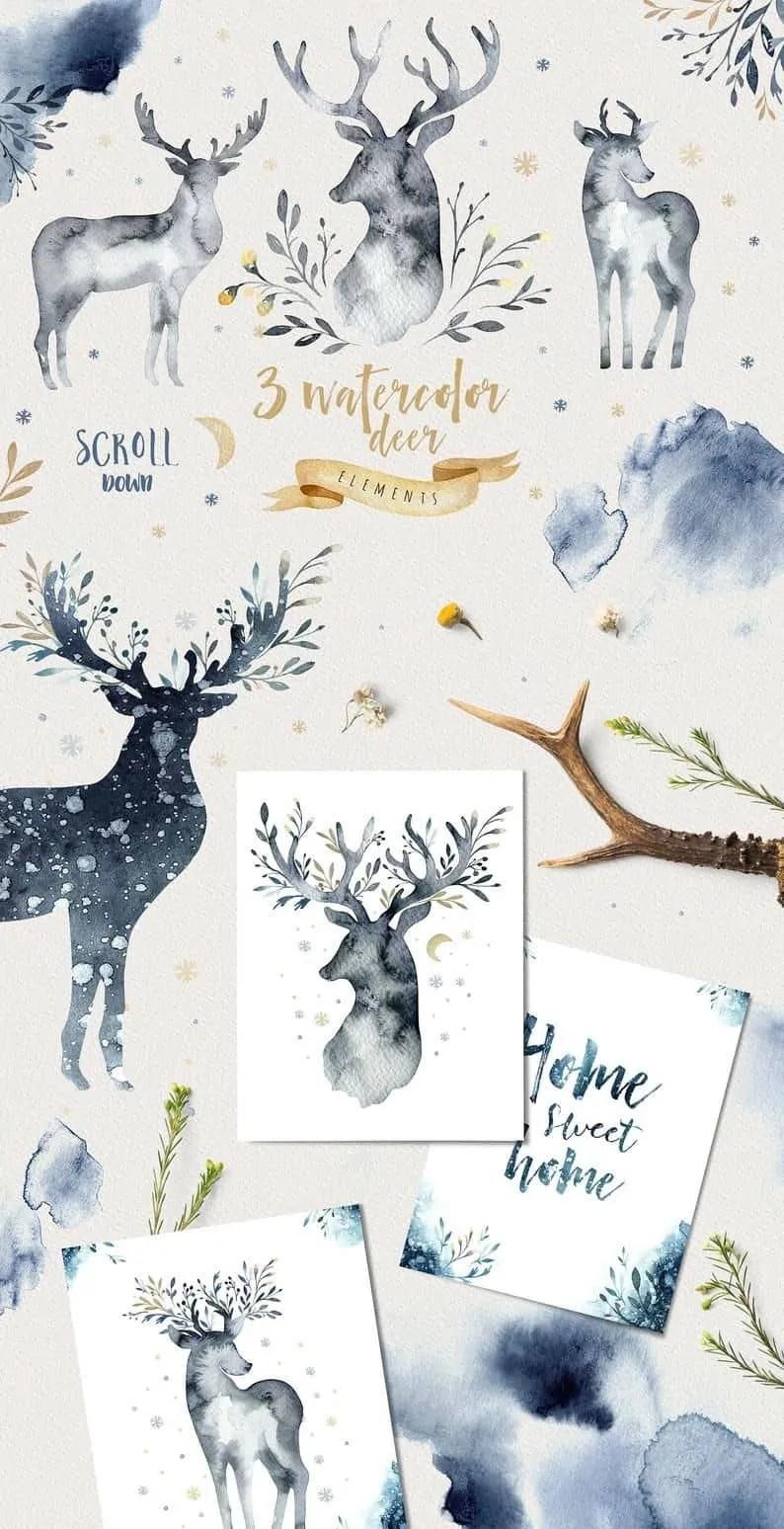 Watercolor-indigo-deer-horn-Clipart-animal-christmas-clip-art-new-year-winter-tree-texture-grange-watercolor-holly-jolly-digital-card 5