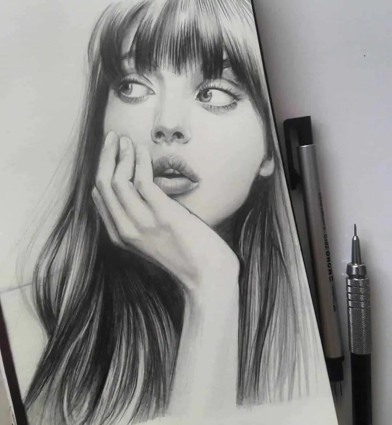 100+ Stunning Realistic Portrait Drawings 85