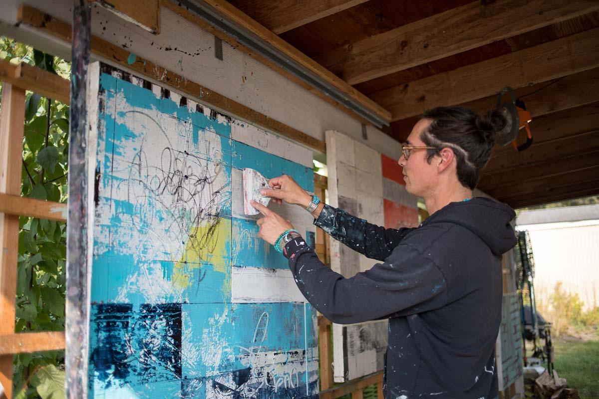 Artist James Temte at work at his home studio in Anchorage, Alaska