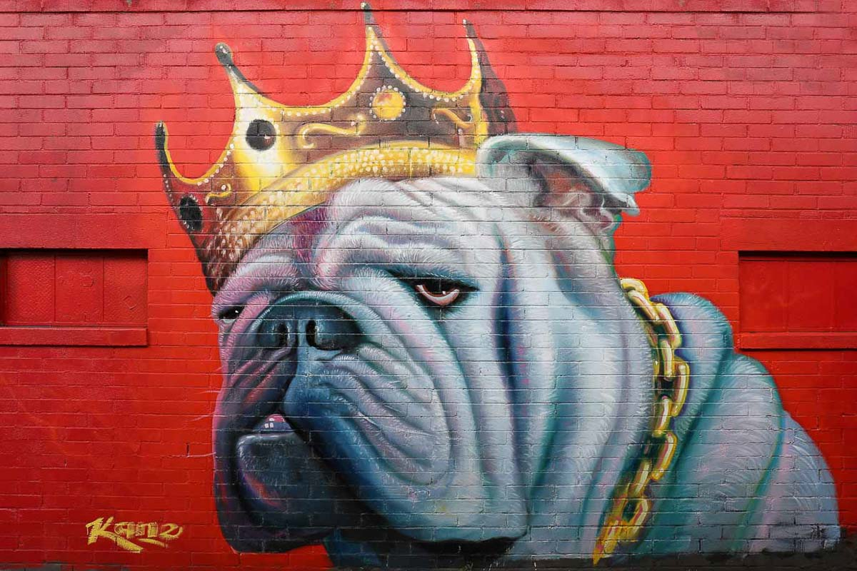 """Biggie Boug"" mural in the alley for the club Rock Steady inspired by Biggie Small's famous portrait. Oil on brick, 15' x 20'. —Patrick Kane McGregor"