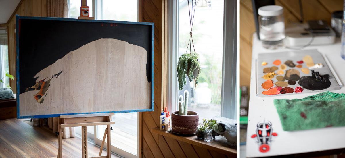 Tattooer, Woodworker + Artist Scott Santee's workspace in Golden, Colorado