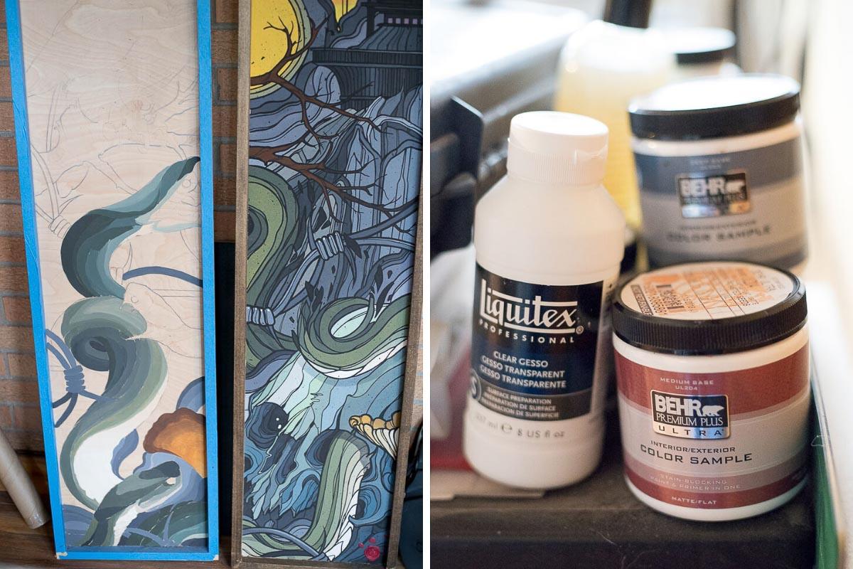 Tattooer, Woodworker + Artist Scott Santee's work + tools in Golden, Colorado