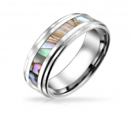 Unisex Tungsten Wedding Band Abalone Shell Inlay Ring 8mm