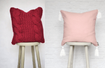 Chunky Knit Cushion Cable Scandi Chunky Cable Knit Pillow+Pink Rose Quartz Tassel Cushion Pillow, Linen Cotton Pink