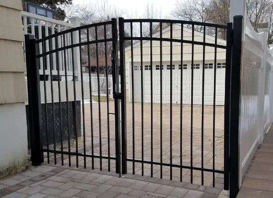Black aluminum double arch gate