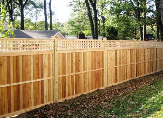 Privacy fence with square lattiace