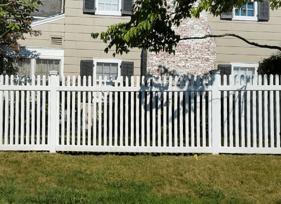 White pvc / vinyl fence at a residence in New Jersey installed by the Good Fence People at Artistic Fence