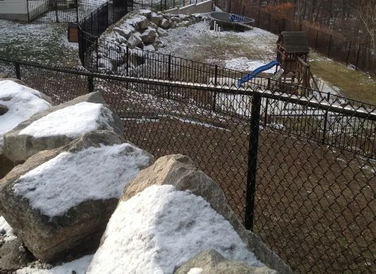 Balck chain link fence in a multi-level backyard that also has aluminum fencing