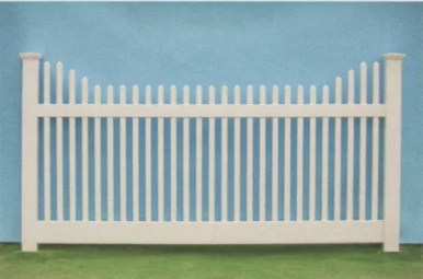 Nantucket stepped style vinyl picket fence
