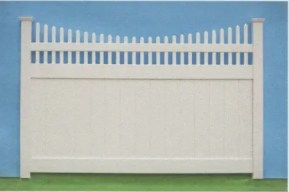 Suburban Scalloped Open top pvc privacy fence combines the open top picket style with the scalloped , concave style