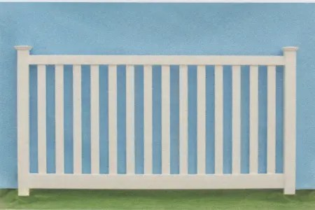Artistic Fence custom pvc traditional picket fence style bar barnor capped has a flat rail on the top and the bottom with pickets in between