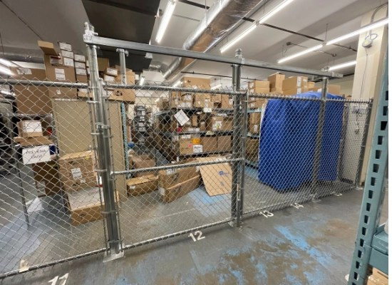 Silver indoor chain link metal fence
