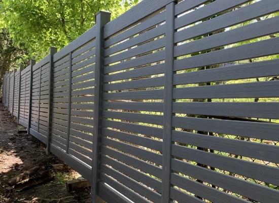 Black horizontal vinyl semi privacy fence