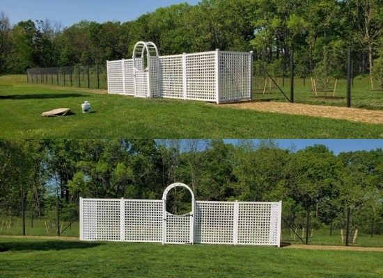 white pvc garden fences | trellis and arbor installation by Artistic Fence Company