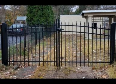 Black aluminum double driveway gate