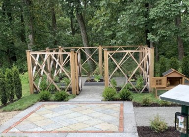 custom wood garden fence designed and installed for Mansions in Morristown event