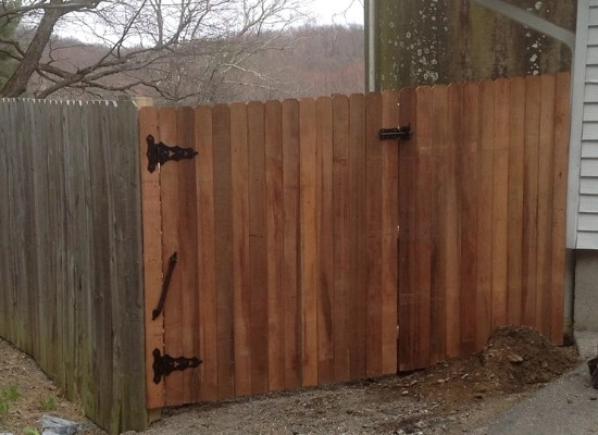 Solid wood fence gate