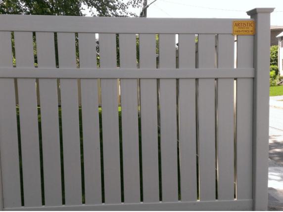 Grey keywest semi privacy vinyl fence by Artistic Fence Company