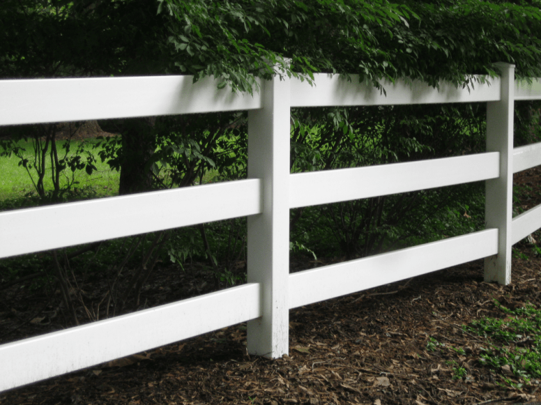 White split rail fence, 3 rail post and rail white fence installed by Artistic Fence Company
