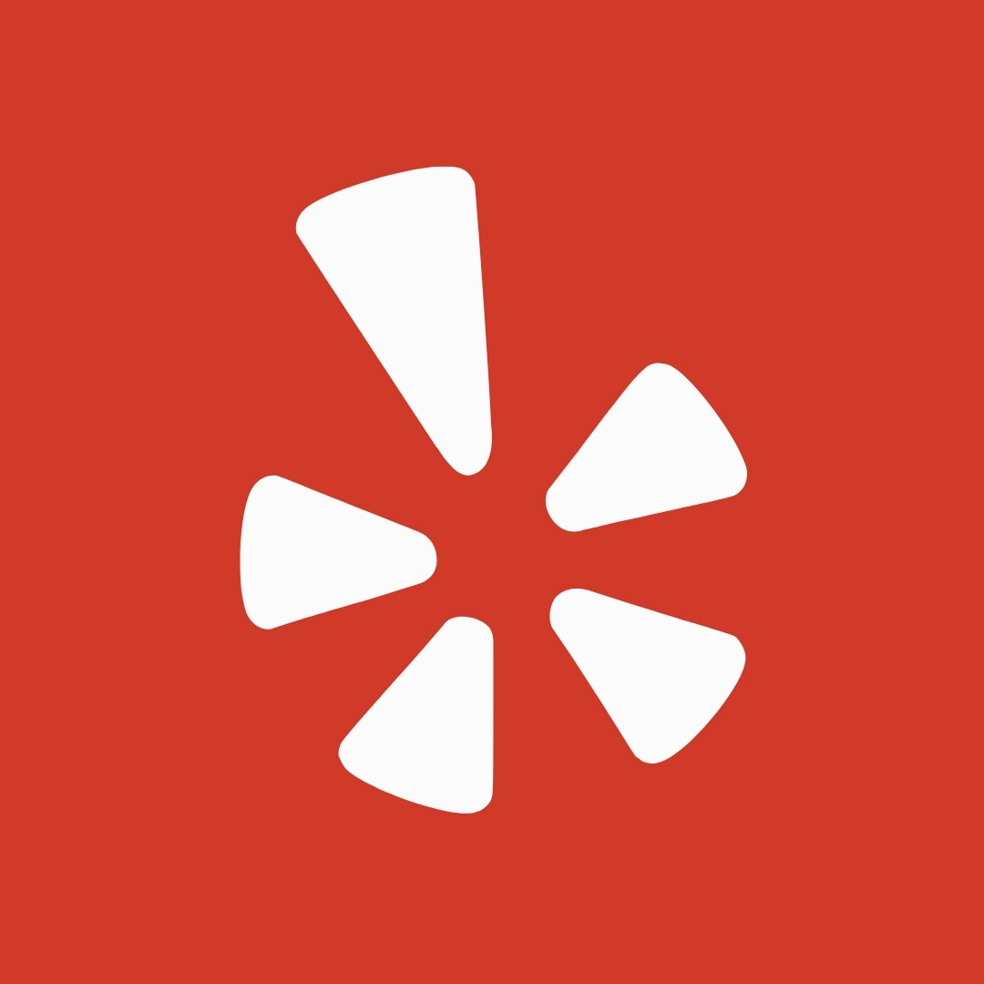 White yelp icon with red background