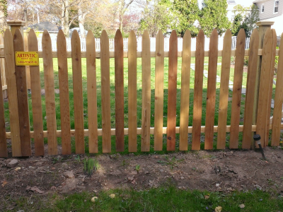 Wood picket fence style #103 installed by Artistic Fence Company in Northern New Jersey