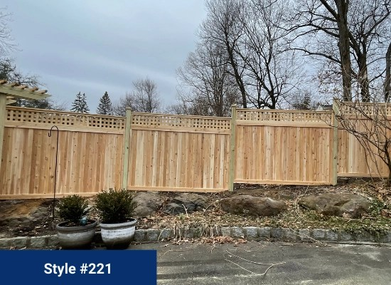 Wood fence with square lattice top, style #221 with arbor