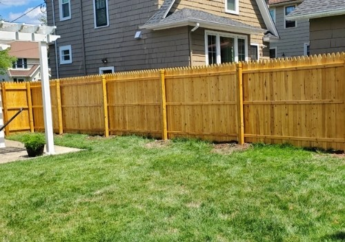 Yellow sugi wood fence installed by Artistic Fence in New Jersey